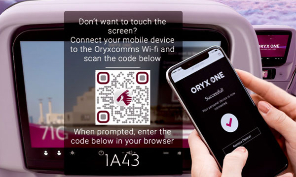 Qatar Airways propose un accès sans contact à son système de divertissement en vol
