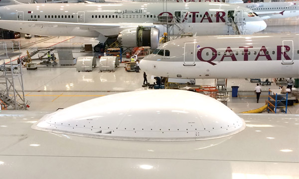 EAD Aerospace's SUMS Satcom installation system  on board Qatar Airways's 777s