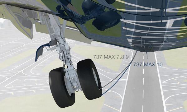 Boeing présente le nouveau train d'atterrissage du 737 MAX 10